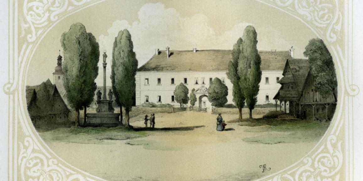 Zámek – okolo roku 1852 – litografie od J. V. Raua