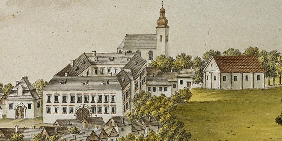 Zámek – rok 1814 – veduta od A. J. Venuta