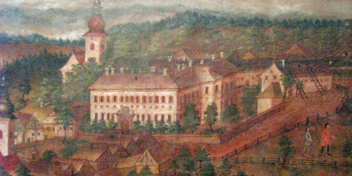 """Zámek – kolem roku 1770 – výřez z obrazu """"Stadt Rockitnitz"""""""