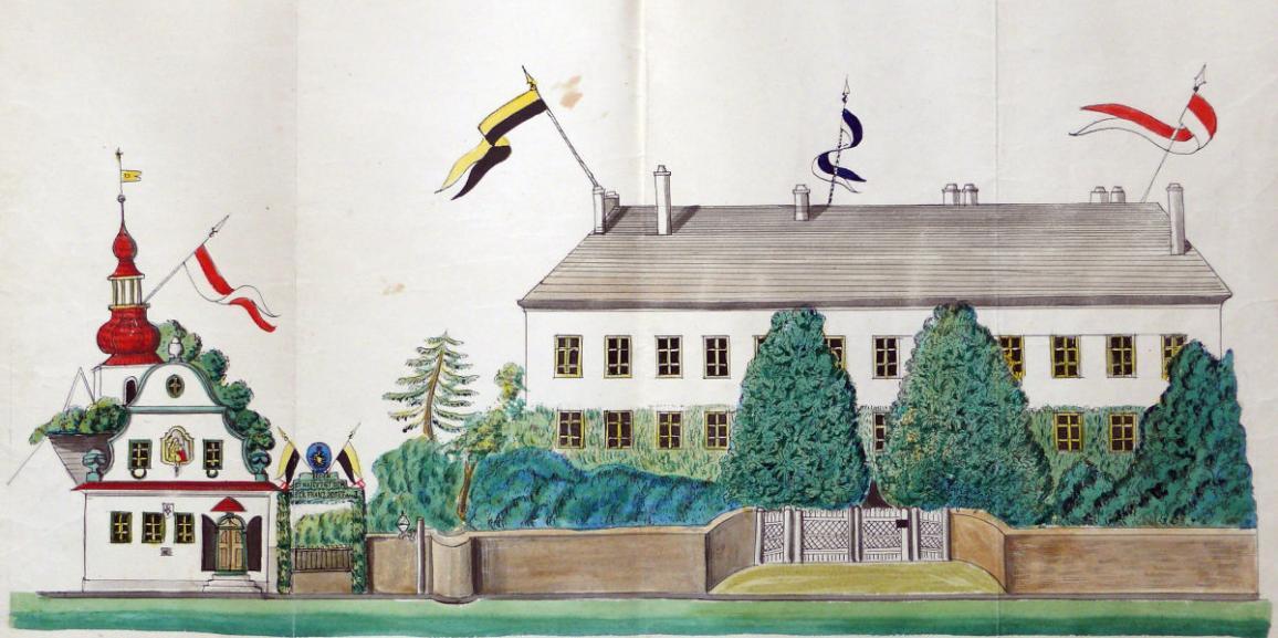 Zámek – v roce 1869 – od náměstí
