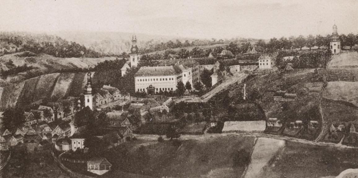"""Zámek – kolem roku 1770 – pohlednice """"Alt-Rokitnitz"""""""